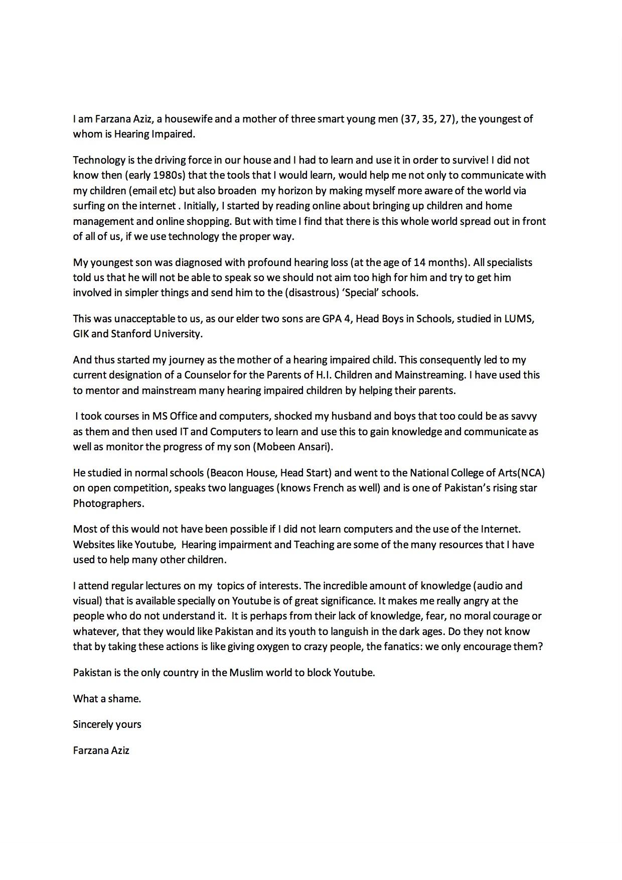 Farzana's Letter